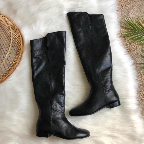 Nine West Shoes - Nine West Black Leather OTK Zip Up Boots Size 5